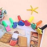 Juguetes para niños, 6 unidades de madera, para manualidades, pintura, esponja, esponja, juguetes, mango, etc.