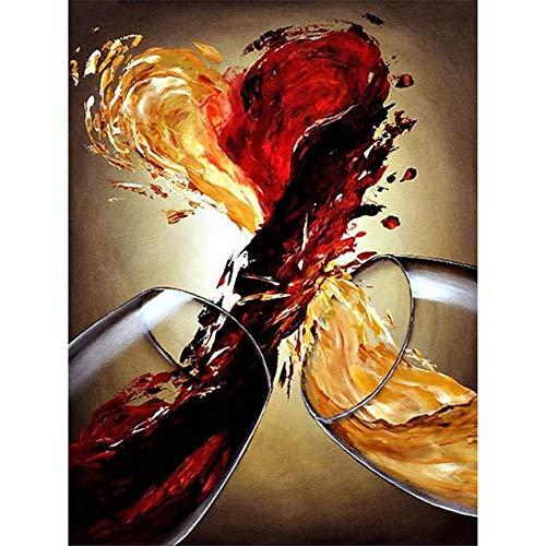 Pintura de Diamante 5D completo Kit Copa de vino tinto,DIY Diamond painting adulto/niño punto de cruz Crystal Rhinestone bordado art manualidades para decor de paredes regalos Square Drill,70x90cm