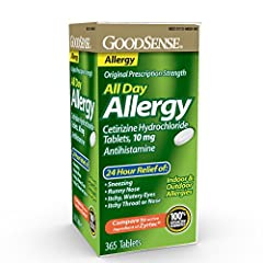 ALLERGY MEDICINE: GoodSense All Day Allergy temporarily relieves symptoms due to hay fever or other upper respiratory allergies: runny nose; sneezing; itchy, watery eyes; itching of the nose or throat. 24 HOUR SYMPTOM RELIEF: One dose of All Day Alle...