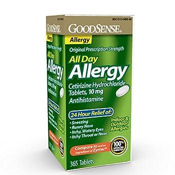 GoodSense All Day Allergy Cetirizine Hydrochloride Tablets 10 mg Antihistamine 365 Count