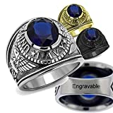 YVO Customizable Navy Ring - Free Engraving Included - Size 10