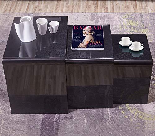 GORVELL Modern Simple Black Nest of 3 Tables, Multi-functional Sofa Nesting Tables End Side Tables Living Room Table, Home Office, Black