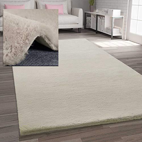 VIMODA Fellteppich Kunstfell Teppich Imitat in Beige Dicht Flauschig Seidiger Glanz, Maße:60x110 cm