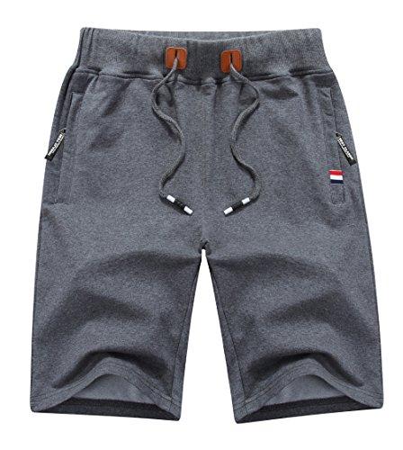 MO GOOD Mens Casual Shorts Workout Fashion Comfy Shorts Summer Breathable Loose Shorts (D-Grey, US (40-42))
