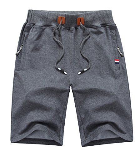 MO GOOD Mens Class-fit Casual Shorts Joggers Running Flat Shorts Elastic Waist (D-Grey, US 36-37,Tag 5XL)