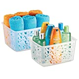 mDesign Plastic Bathroom Storage Basket Bin for Organizing Hand Soaps, Body Wash, Shampoos, Lotion, Conditioners, Hand Towels, Hair Accessories, Body Spray - Large, Floral Design, 2 Pack - Clear