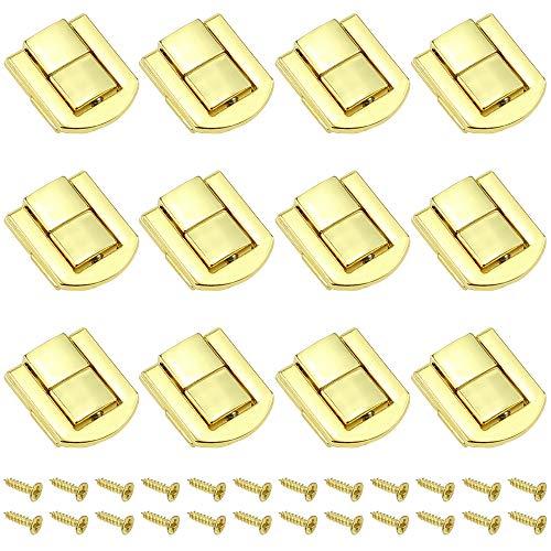 DXLing 12 Piezas Cierres para Cajas de Madera 25 x 20,5 mm Cierre de Resorte Cerradura Cierre Candado Bloqueo Palanca Pestillo para JBolsas Caja de Madera Caja de Hierro - Dorado