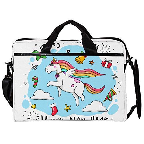 Yuzheng Unicorn Christmas Wish Borsa per Laptop Borsa a Tracolla per Notebook Tablet PC con Tracolla Borsa per Borsa da Trasporto in Tela Messenger Borsa per Donna, Uomo 38.1x27.94x2.54cm