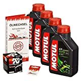 Motul 10W-40 Öl + K&N Ölfilter für Kawasaki ZX9R Ninja, 02-03, ZX900E - Ölwechselset inkl. Motoröl, Filter, Dichtring
