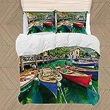 Italia Duvet Cover Set, Paisaje del Verano y Boa Madera TS en el Lago de Garda Torbole Ciudad Pesca Marítima 3 Piezas Incluye 2 Almohada Shams y 1 Funda nórdica