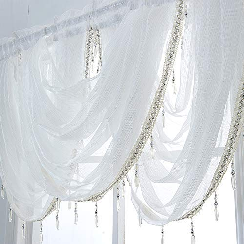 Waterfall Valance Curtains Sheer 1 PCS, White Silver Silk Line Luxury Beaded Curtain Valance Sheer Window Curtain with Tails, Rod Pocket Single Valance Drapes, 32 x 24 Inch