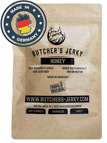 Beef Jerky Made in Germany von BUTCHERS JERKY mit hohem Proteingehalt [NEUZUGANG] | 3 Geschmacksrichtungen (Honey, 250 Gramm)