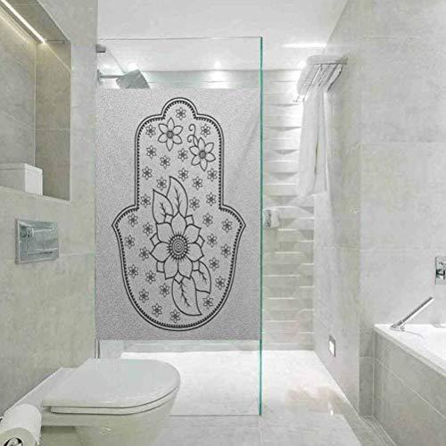 Vinilo decorativo para ventana, diseño de mano antigua de Fátima con flores de loto y cabalá Th, decoración de baño de 45 x 89 cm