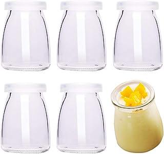 comprar comparacion Danmu Art - 6 tarros de cristal para pudín de yogur, 100 ml, con tapas de plástico, mini taza, pequeñas botellas de vidrio...