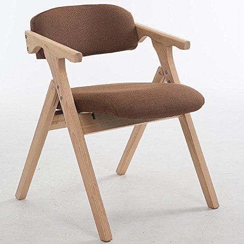 KSUNGB Chaise Pliante en Bois Chaise de Salle à Manger Salon Chaises de Balcon Chaise d'étudiant Fauteuil Chaise d'ordinateur Chaise de Bureau Adulte Pliant Bois de Caoutchouc Lin, Dark Brown