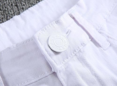 Leward Men's Slim Fit Black Stretch Destroyed Ripped Skinny Denim Jeans (36, White)