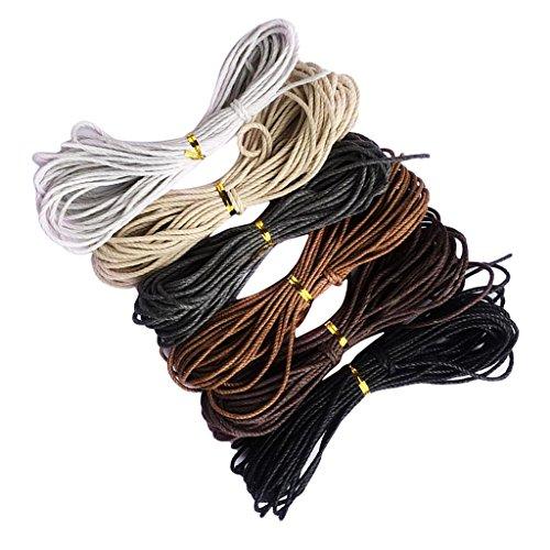 Sharplace 6 Farben 2mmx10m Gewachste Baumwolle Schnur Baumwollschnur String Threads Faden Kordeln Wachsband Baumwollkordel für Schmuckherstellung - Farbe 4