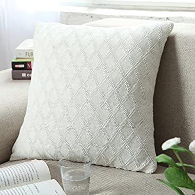 Fashion Cotton Cable Knit Pillow,Cushion,Diamond-Shaped Pattern Knitted Throw Pillow Cover For Counch Bed Car Decoration (White)