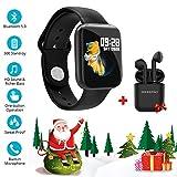 Smartwatch Reloj Resistente Hombre Mujer Niños Monitor Pulso Cardiaco Pulsera Actividad Reloj Inteligente Cardio Podómetro Bluetooth Reloj Deportivo Rastreadores Cronómetro para Android iOS(Negro)