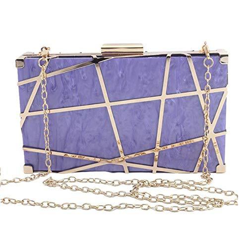 Umhängetasche Damen Clutch Acryl Clutch Bag Geometrische Hohlmuster Frauen Kette Umhängetasche Hochzeitsfeier Geldbörse Braut Handtasche Lila