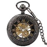 Reloj Bolsillo Retro, Vitrina Vidrio Transparente Negro Antiguo Hombre, números Romanos, Reloj Bolsillo Esqueleto, Cuerda Manual mecánica, Relojes Vintage, Regalo