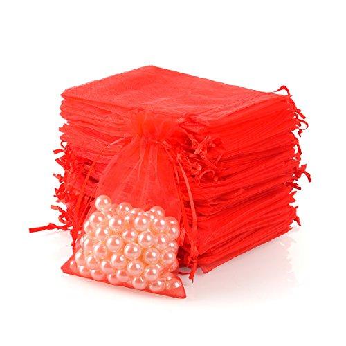 Tyhbelle 100 Stück 10 x 15 cm Organzabeutel Organzasäckchen Hochzeit Säckli Beutel Geschenk Schmuckbeutel (rot-10 * 15CM)