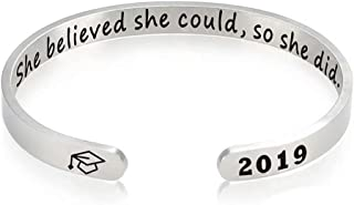 Jack Fashion Graduation Gifts Cuff Bracelet for Women,Engraved She Believed She Could So She Did Inspirational Bracelet with 2019 Graduation Cap Logo, Adjustable Titanium Steel Bracelets for Graduation Souvenir & Graduation Gift & Farewell Gift & Graduation Ceremony Wearing Accessories