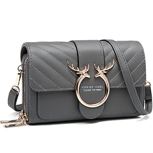 Handy Umhängetasche,Kleine Crossbody Tasche Handy Damen, Geldbörse PU Handtaschen Brieftasche mit Kartenfächer Verstellbar Abnehmbar Schultergurt für Phone 7/8/X Plus