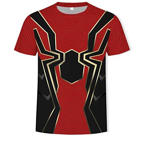 Amacigana Camiseta unisex de manga corta con diseño de Spiderman en 3D, de algodón y manga corta para niños y niñas A04 XL