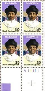 1990 IDA B WELLS ~ BLACK HERITAGE #2442 Plate Block of 4 x 25 cents US Postage Stamps
