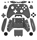 xbox one carbon fiber shell - WPS Hydro Dipped Replacement Housing Shell Set for Xbox One S Slim (3.5 mm Headphone Jack) Controllers for 1708 Version (Black Silver Carbon Fiber)