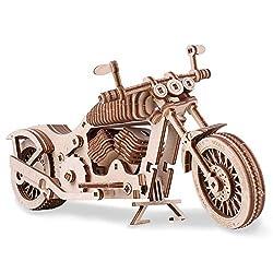 GuDoQi 3D Holz Puzzle, Motorrad Modell-bausatz mit Gummibandmotor, Mechanischer Holzbausatz zu Bauen, DIY Montage Holzpuzzle Spielzeug, Bastelset, Geschenk aus Holz fur Erwachsene Männer Jugendliche