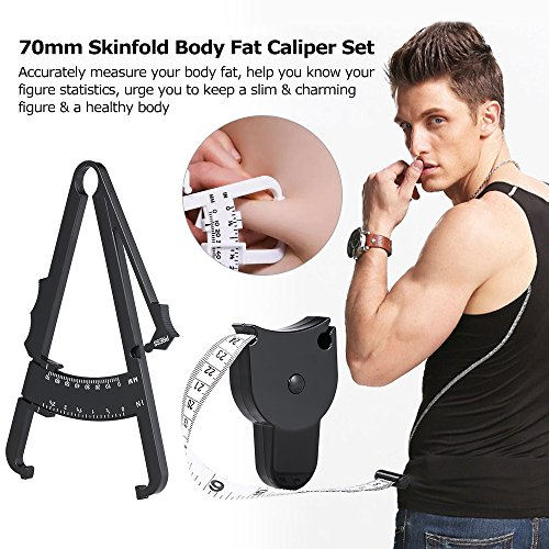 MinLia 70mm Skinfold Body Fat Clamp Bodyfold Body Fat Tester Measuring Tape with Measurement Table Body Health Care Tool