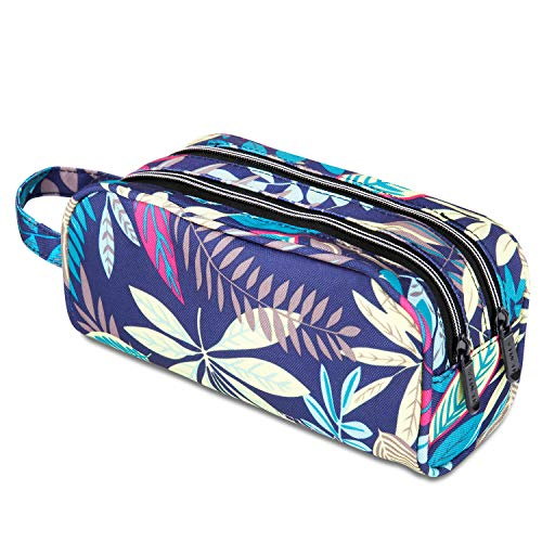 JEMIA Dual Compartments Collection 2 Independent Zipper Chambers with Mesh Pockets and Handle Strap Pencil Case (Blue Leaves, Polyester)