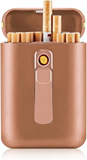 Cigarette Case with Lighter Cigarettes Box King Size Portable Full Pack 20pcs Regular Size Cigarettes USB Lighters 2 in 1 Rechargeable Flameless Windproof Electric Lighter(Gold)