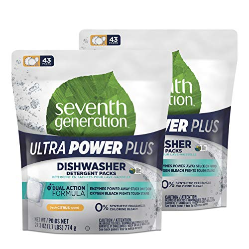 Seventh Generation Ultra Power Plus Dishwasher Detergent Packs, Fresh Citrus Scent, 43 Count, Pack of 2