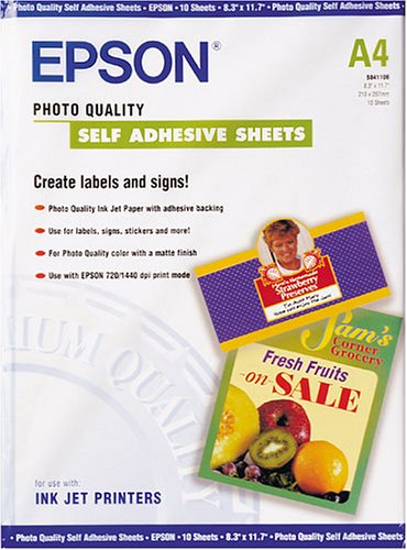Epson C13S041106 Self-adhesive Photo Paper Inkjet 167g/m2 A4 10 Blatt Pack