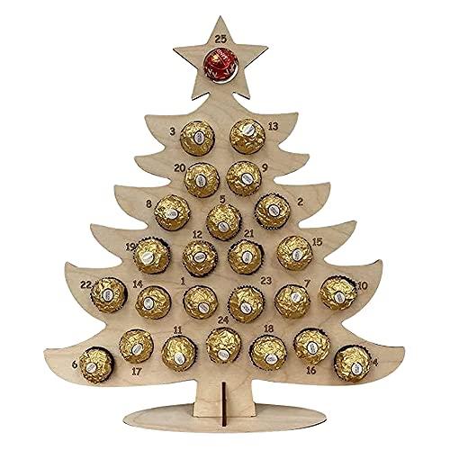 Calendrier de l'Avent en bois avec sapin de Noël, élan, chocolat, bonbons, cupcakes, desserts, calendrier de Noël, calendrier de compte à rebours creux pour la maison, table, mariage, fête, cadeau