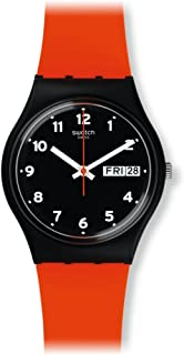 Swatch Originals Red Grin Black Dial Silicone Strap Unisex Watch GB754
