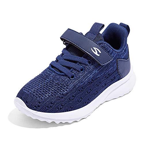 Fitnessschuhe Jungen Hallenschuhe Kinder Turnschuhe Sportschuhe Laufschuhe Sneaker Indoor Outdoor Freizeit Schuhe Girls Running Walking Shoes Blau Blue 37EU InnereLänge=24.6CM