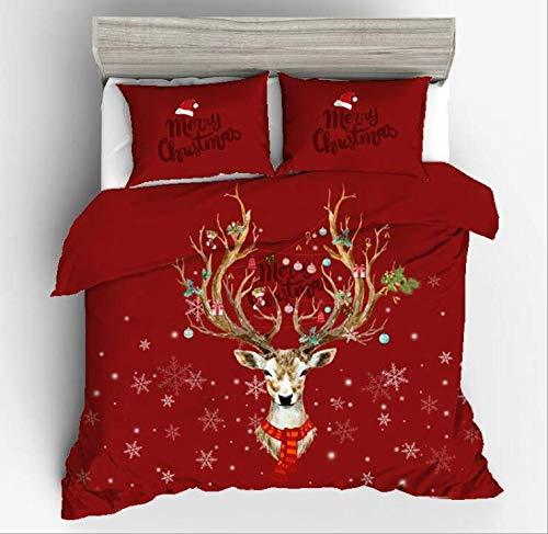 Set di biancheria da letto natalizio, con stampa 3D, motivo natalizio, copripiumino per letto...