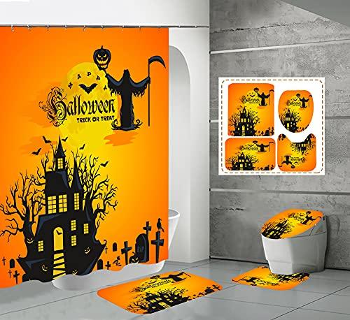 CQFFCG Juego de alfombras de baño 4 Piezas de baño de Serie de Halloween con Cortinas de Ducha Alfombrillas de baño Antideslizantes Impermeables Conjuntos (Forma 54)