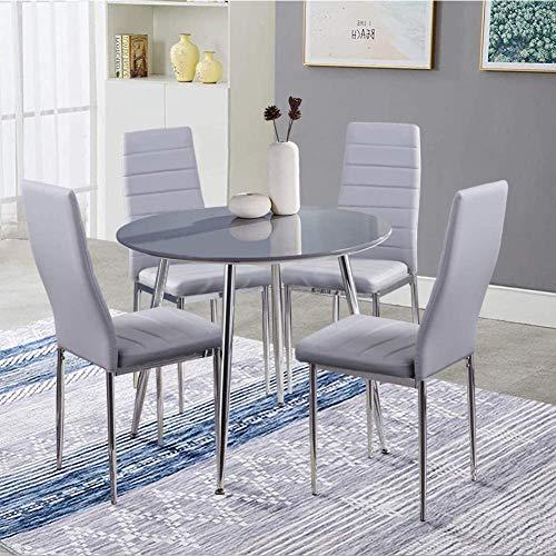 GOLDFAN Esszimmergruppe mit Grau Esstisch und 4 Grau Essstühlen Runder Tisch und Grau Stuhl für Wohnzimmer Küche etc