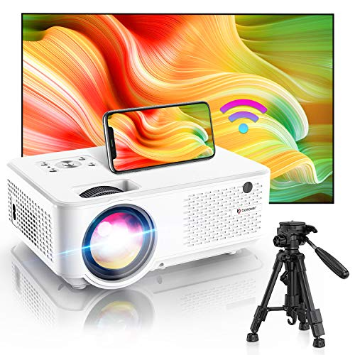 Bomaker HD 1080P Projector, 200 ANSI Lumen, Native 800p WiFi Mini Projector Outdoor Ultra Portable, 300'' Display Supported Projector Compatible with iPhone,TV Stick,PS4,DVD,Android,Windows