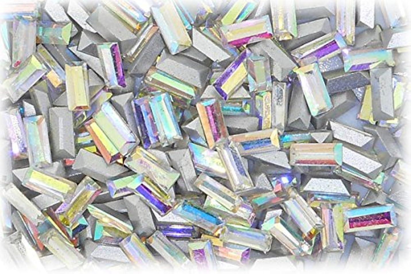 スカリーサラミ資源SHAREKI CRYSTAL Vカット (チャトン) ラインストーン バケット (四角形)レインボー 3mmx7mm 4個入りx3セット=12個  rai-3x7