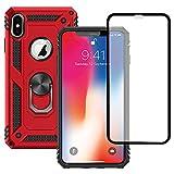 Yiakeng Funda Apple iPhone X/XS New Edition Carcasa con Protector Pantalla Cristal Templado, Silicona Armor Case con Kickstand para Apple iPhone X/XS-5.8' (Rojo)
