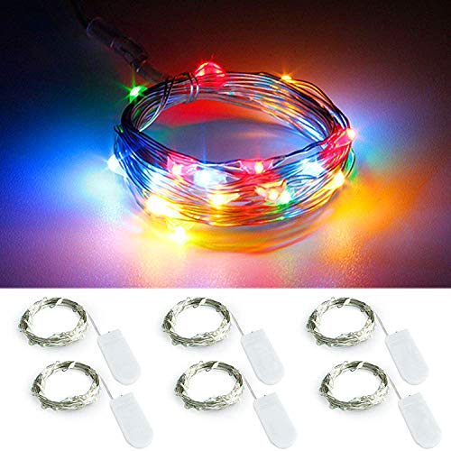 YKB 6 Pack Multicolor LED Starry String Lights with 20 Mini LEDs on 3.3FT/1M Copper Wire, Fairy Lights Powered by 2xCR2032(Incl) Batteries, for Wedding Table Holiday Halloween Christmas Decorations