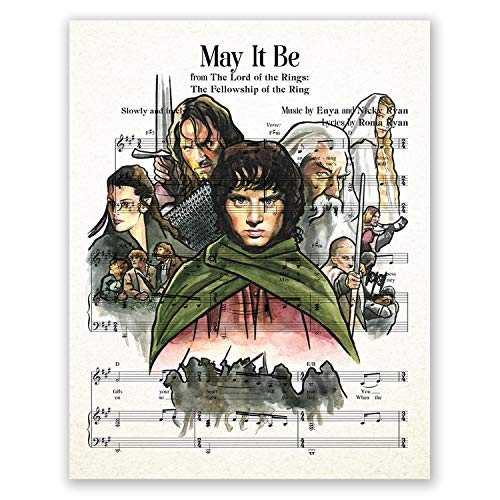 AtoZStudio Lord of The Rings Poster // Music Sheet Theme // Wall Art LOTR Print // Home Decor // Fan Gift // Aragorn Legolas Gandalf Frodo Baggins // Party Decoration // Picture Artwork (8x10)