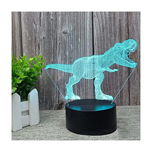 Botitu Lámpara De Ilusión Óptica 3D del Dinosaurio, Lámpara De Noche De 16 Colores Que Cambia De Color con Control Remoto, Regalos De Cumpleaños para Niños,A