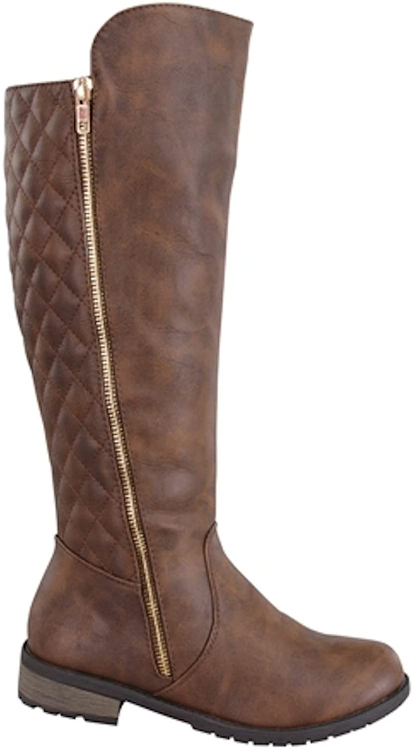 La Bella Fashion Women's Knee High Stitched Back Dress Riding Heel Boots in Black, Taupe, Brown